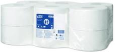 110163 - T2 - TORK JUMBO MINI toaletný papier 1-vr, 240 m, 1714 útržkov, recykel biely,  cena za balenie 12 ks